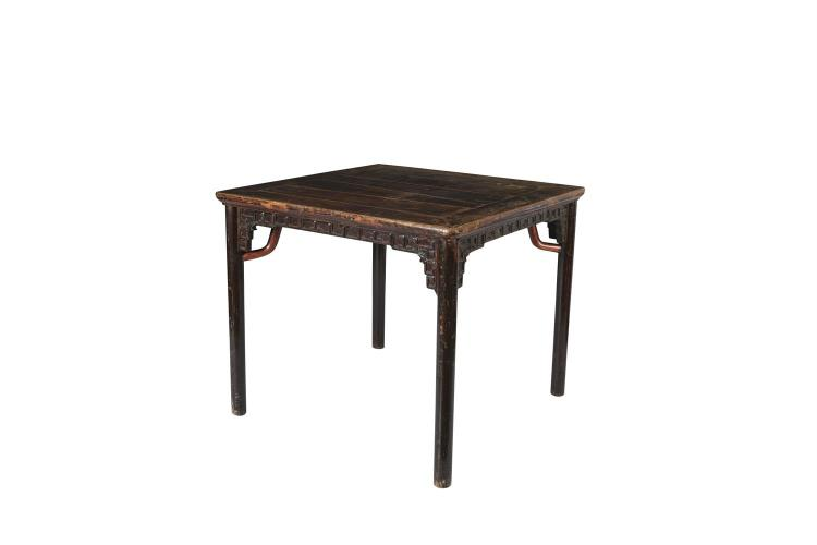 A chinese table squared timber table late 19th century the for Table th rounded corners