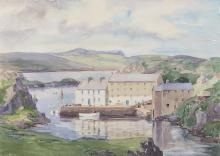 E. Lyn Hope (fl. 1938-1959)Scenes of Bunbeg Harbour, Co. DonegalA collection of four watercolours, 29 x 39.5cm (11½ x 15¼) and smaller, the largest framedTwo examples signed and one inscribed. (4)