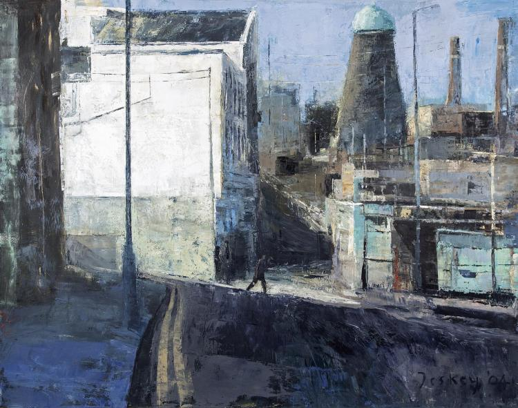 Donald Teskey RHA (b.1956)Oliver Bond Street, DublinOil on canvas, 168 x 213.5 cm (66 x 84'')Signed and dated 2004. Also signed, inscribed and dated versoDonald Teskey was born in Castle Matrix, Co. Limerick. He rose quickly to critical acclaim