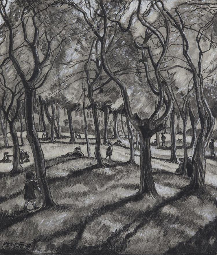 Harry Kernoff RHA (1900-1974)A Woodland Park with FiguresCharcoal, 41 x 36cm (16¼ x 14¼'')Signed and dated (19)'31