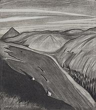 Harry Kernoff RHA (1900-1974)Mountain LandscapeCharcoal, 41 x 36cm (16¼ x 14¼'')Signed and dated (19)'31