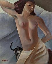 Cecil Ffrench Salkeld ARHA (1904-1969)Reclining Nude with KittenOil on board, 29 x 24.5cm (11½ x 9¾'')SignedProvenance: From the collection of the writer Percy Arland Ussher (1899-1980), a friend of the artist and thence by descent.
