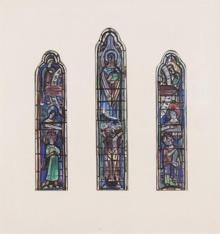 Evie Hone HRHA (1894-1955)Study for Stained Glass TriptychGouache, 26.5 x 6cm (2), 31 x 6cm (central panel) (10½ x 2¼'' and 12 x 2¼)Provenance: The Jorgensen Gallery