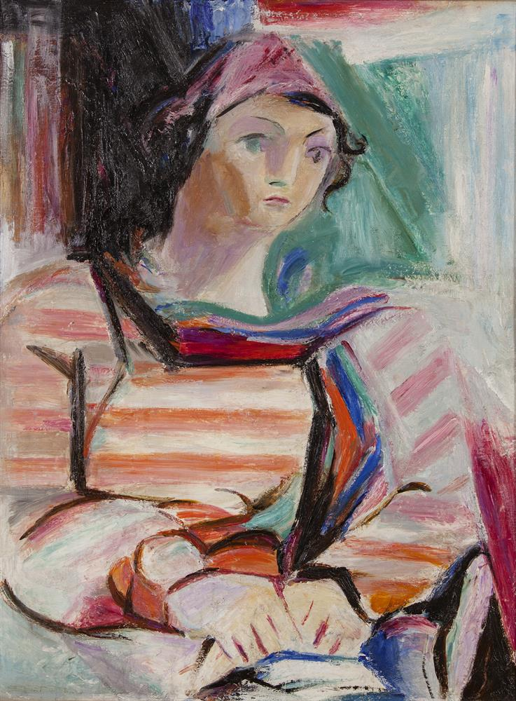 May Guinness (1863-1955)Portrait of a WomanOil on canvas, 84 x 61cm (33 x 24'')Exhibited: 'Analysing Cubism' exhibition, IMMA, February/May 2013, The Crawford Gallery, Cork, June/September 2013 and F.E. McWilliam Gallery, September/November 2013.