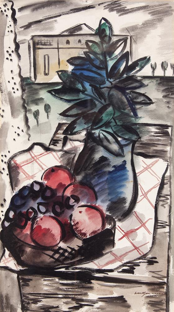 Norah McGuinness HRHA (1901-1980)Still Life Study, Apples with a vase of FlowersWatercolour, 54.5 x 30.5cm (21½ x 12)Signed