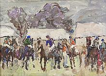 Letitia Marion Hamilton RHA (1878-1964)The Meath Hunt Point-to-Point RacesOil on board, 12 x 17cm (4¾ x 6¾'')Signed with initials; original exhibition label versoExhibited: 'Irish Women Artists 1870-1970' exhibition, Adam's Dublin, July 2014, Ava