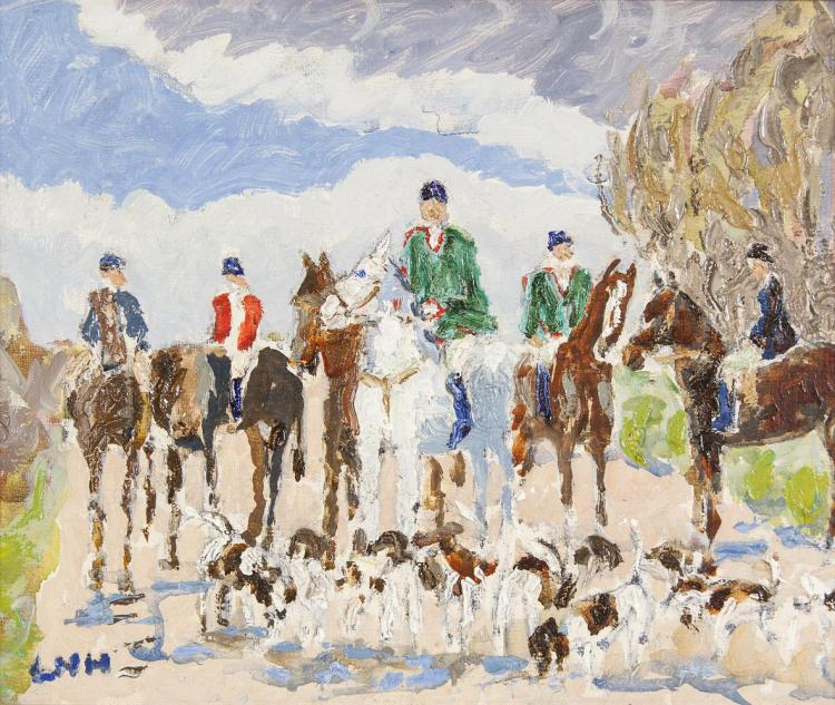 Letitia Marion Hamilton RHA (1878-1964)The Hunt MeetOil on board, 20.5 x 24.5cm (8 x 9½'')Signed with initialsExhibited: 'Irish Painting Exhibition', The Gorry Gallery, June 2001, Catalogue No.33, where purchased by current owner.
