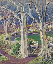 Letitia Marion Hamilton RHA (1878-1964)View in a Formal GardenOil on canvas, 61 x 50cm (24 x 19¾'')Signed with initials
