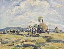 Eva Henrietta Hamilton (1876-1960)HaymakingOil on canvas, 35.5 x 45.5cm (14 x 18'')Signed and inscribed with title versoExhibited: 'Summer Exhibition 2000', The Frederick Gallery, Catalogue No.11, where purchased by current owner.