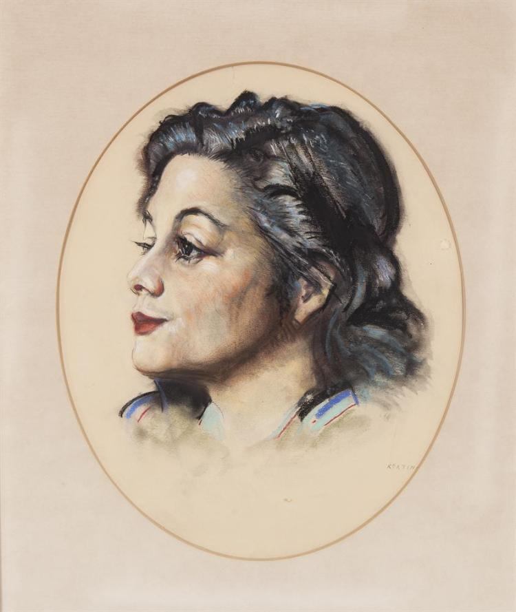 Seán Keating PRHA (1889-1977)Portrait of MovitaCharcoal and pastel, 27 x 29cm (shaped) (10½ x 11½'')SignedMaria Movita Castaneda was a Mexican actress who starred in numerous Hollywood films including Mutiny on the Bounty (1935) and the John