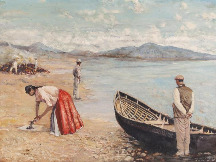 Seán Keating PRHA (1889-1977)Burning the KelpOil on board, 57 x 76cm (22½ x 30)Signed, also signed and dated (19)'74Provenance: Purchased from the artist by Mrs Noreen Barrett and thence by descent to the present owner.From the moment Seán Kea