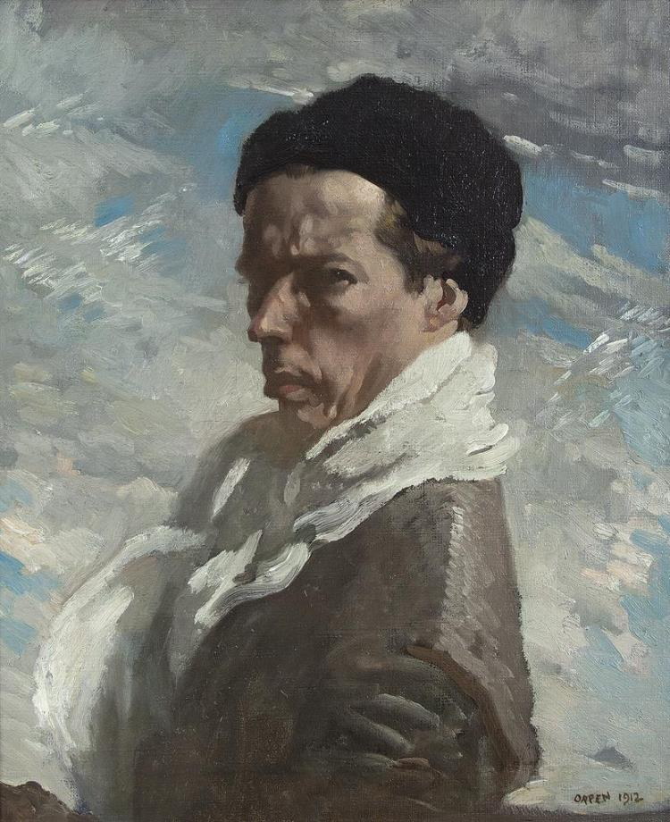 """Sir William Orpen RA RWS RHA (1878-1931)Self-Portrait (1912)Oil on canvas, 61 x 51cm (24 x 20'')Signed and dated 1912Exhibited: """"An Ireland Imagined: An exhibition of Irish Paintings and drawings 1860 - 1960"""" The Pyms Gallery London Oct/Nov 1993"""
