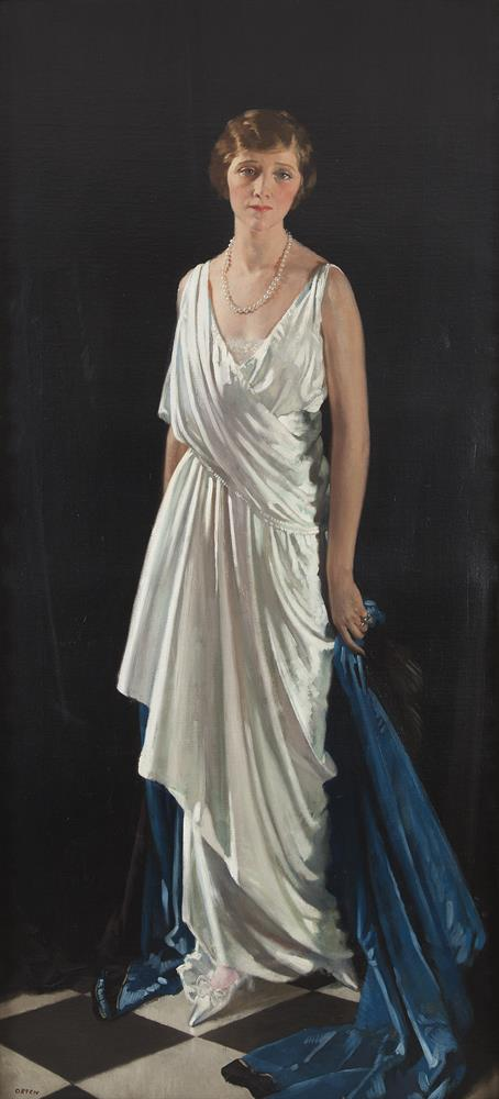 """Sir William Orpen RA RWS RHA (1878-1931)Portrait of Mrs Oscar Lewisohn, formerly Miss Edna MayOil on canvas, 202 x 92cm (79½ x 36¼'')SignedProvenance: Christies """"Irish Sale"""" 22nd May 1998 Lot No. 29 where purchased by current owners. Literature"""