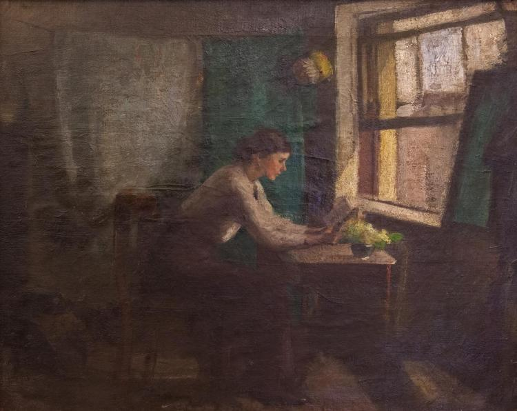Estella Frances Solomons HRHA (1882-1968)Woman Reading at a Desk by a WindowOil on canvas, 42 x 52cm (16½ x 20½)Provenance: From the artists studio