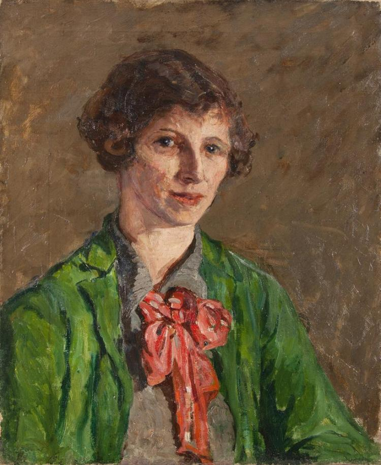 Estella Frances Solomons HRHA (1882-1968)Portrait of Elizabeth Lucy (Norah) HoultOil on canvas, 61 x 51cm (24 x 20'')Provenance: From the artist's studio. The estate of Geoffrey O'Connor, Co. Kerry.The writer Elizabeth Lucy Hoult known as 'Nora
