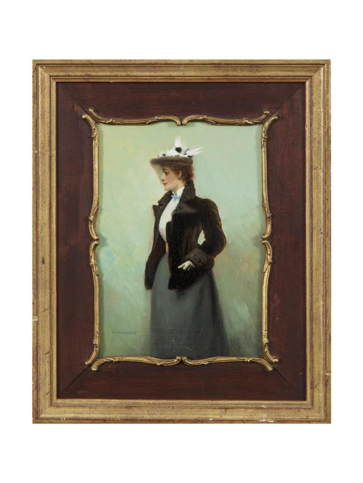 Henry Jones Thaddeus (1860-1929)A Lady of FashionOil on panel, 25.5 x 18cm (10 x 7'')Signed