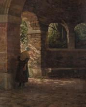 Henry Harewood Robinson (Fl.1884-1904)Hide and SeekOil on panel, 47.5 x 37.5cm (18 x 14¼'')SignedExhibited: Royal Hibernian Academy 1887, Catalogue No.193 (thought to be the same work).Henry Harewood Robinson, along with his wife, Irish painter