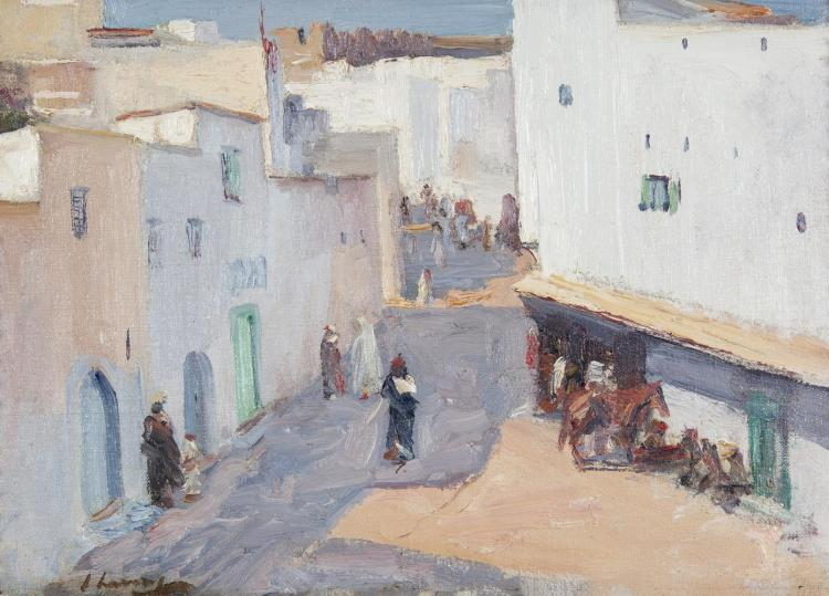 Sir John Lavery RA RSA RHA (1856-1941)A Street in TangierOil on board, 25.5 x 35.5cm (10 x 14'')SignedProvenance: With The Pyms Gallery, LondonLiterature: Kenneth McConkey, 'The White City - Sir John Lavery in Tangier in The Irish Arts Review Y