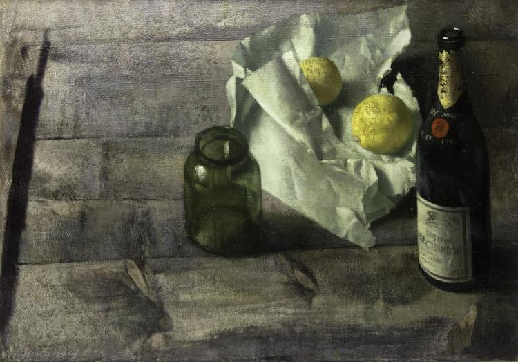 Patrick Hennessy RHA (1915-1980)Still Life with Champagne BottleOil on canvas, 51 x 71cm (20 x 28'')Signed; AR PH120 inscribed versoProvenance: Tom Caldwell Galleries.Exhibited: 'Patrick Hennessy Exhibition', The Victor Waddington Galleries, Dub