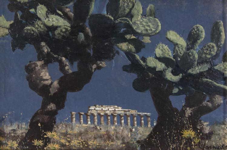 Patrick Hennessy RHA (1915-1980)The Temple of Concord - Agrigento, SicilyOil on board, 21 x 31cm (8¼ x 12¼)SignedProvenance: Thought to have been acquired directly from the artist in the 1950s.Patrick Hennessy's painting tours of the Continent