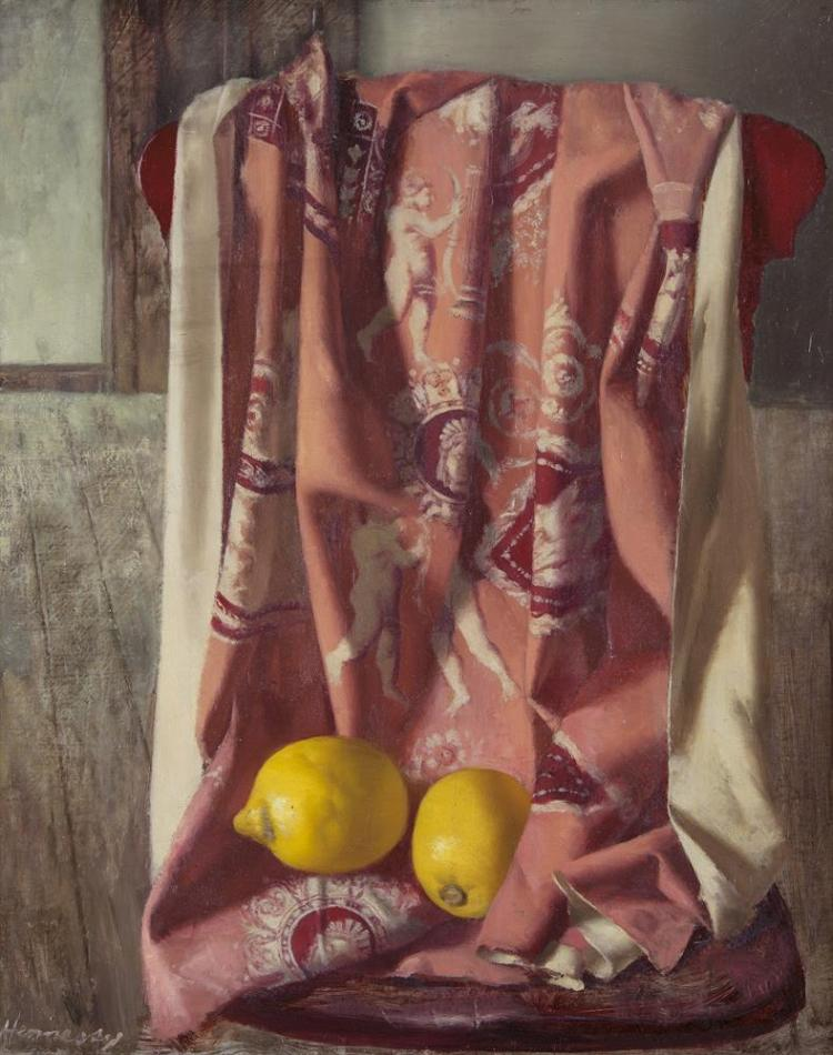 Patrick Hennessy RHA (1915-1980)Still Life with Lemons and Pink FabricOil on board, 50.5 x 40.8cm (20 x 16)SignedProvenance: Thought to have been acquired directly from the artist in the 1950s.Exhibited: 'Patrick Hennessy: DC Profundis' exhibi