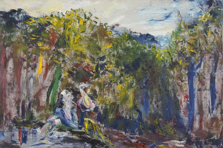 Jack Butler Yeats RHA (1871-1957)Glory to the Brave SingerOil on canvas, 61 x 91.5cm (24 x 36'')SignedExhibited: RHA Annual exhibition 1951 Cat. No. 172; 'Jack B. Yeats Exhibition', Victor Waddington Galleries, Dublin, October 1953 Cat. No. 1;