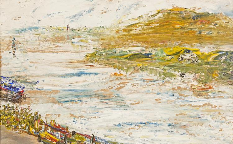 Jack Butler Yeats RHA (1871-1957)The False Morning Promise (1945)Oil on panel, 23 x 35.5cm (9 x 14'')SignedProvenance: Sold through the Waddington Galleries Dublin to Leslie Dacus 1945.Exhibited: 'Jack B. Yeats Exhibition', Waddington Galleries