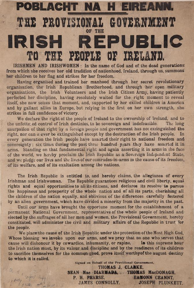 THE PROCLAMATION OF INDEPENDENCE OF THE IRISH REPUBLIC SIGNED BY the PRINTER, CHRISTOPHER BRADYPrinted in Dublin, 23rd April 1916 by Christopher Brady, Michael Molloy and Liam O'Brien for the Provisional Government of the Irish Republic, this copy s