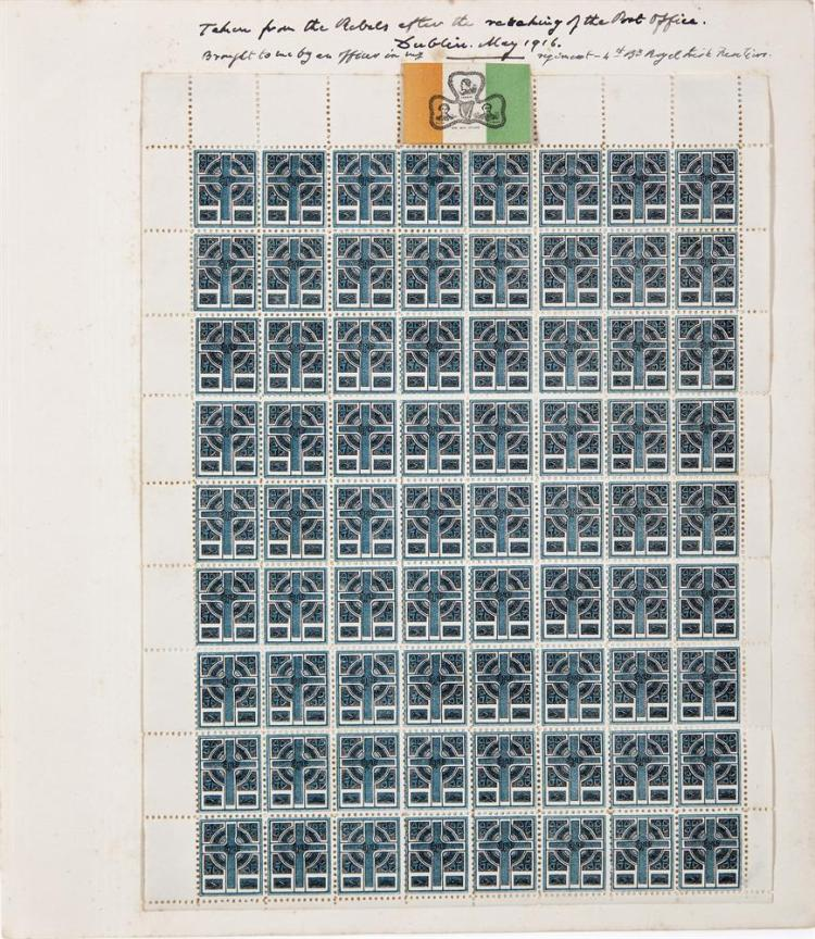 "SINN FEIN PROPAGANDA LABELSA rare full sheet of ''Celtic Cross'' Sinn Fein Propaganda Labels, c. 1916, the sheet having 72 stamps in 8 columns and 9 rows, with blank edging and loosely mounted on a larger sheet bearing the inscription ""Taken from th"