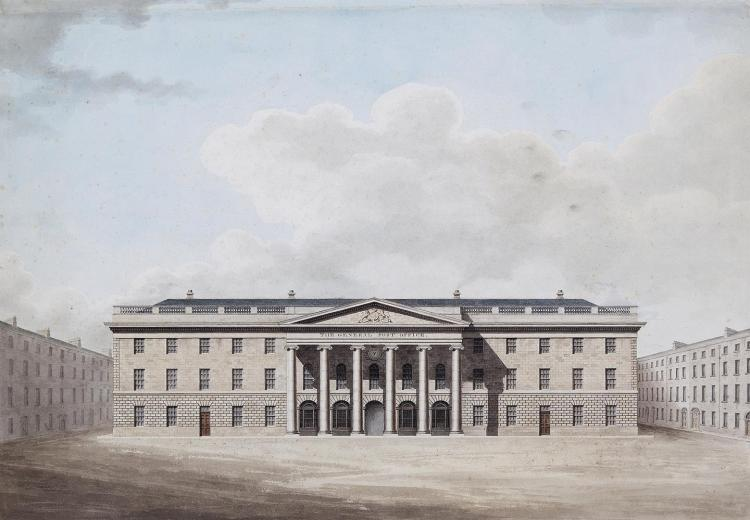 Francis Johnston (1760-1829)An important watercolour showing the front elevation of the proposed General Post Office, Dublin 1814, the building located in in the middle of O'Connell StreetWatercolour, 47.5 x 67cm (18¾ x 26¼'')Signed and inscribed