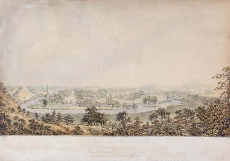James George Oben (fl.1779-1819)A View of the Boyne, 1797Coloured lithographic print, 38 x 64.5cm (45.5 x 64.5cm including title) (15 x 25½'')Laid on mount, titled in pencil