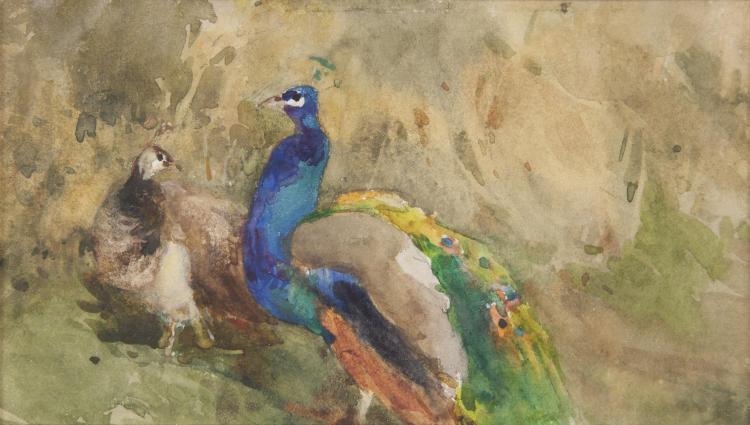 Mildred Anne Butler RWS FRSA RUA (1858-1941)PeacocksWatercolour, 9 x 16cm (3½ x 6¼'')