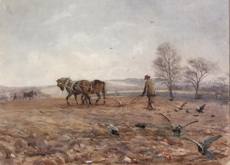 Mildred Anne Butler RWS FRSA RUA (1858-1941)Following the PloughWatercolour, 26 x 36cm (10¼ x 14¼'')Signed with monogram; signed and inscribed with title on old backing paper verso