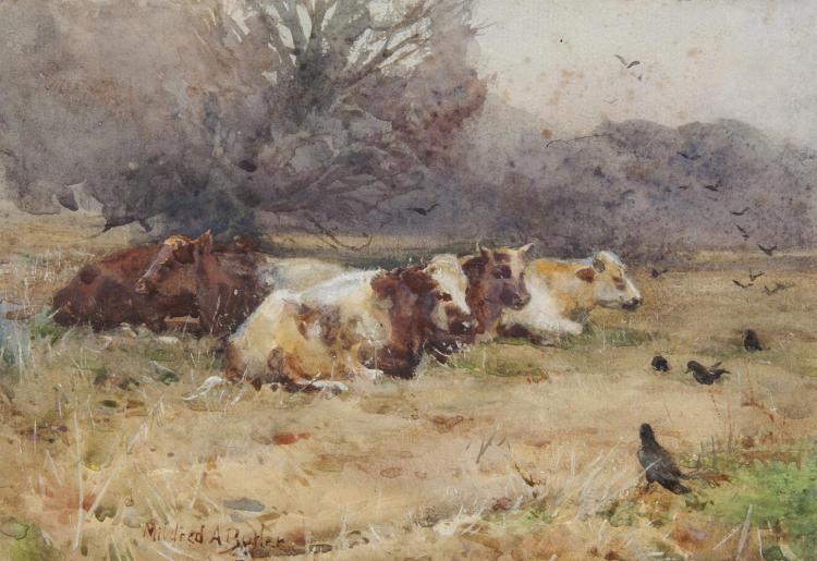 Mildred Anne Butler RWS FRSA RUA (1858-1941)Cattle by the Cornfield with CrowsWatercolour, 17 x 24.5cm (6¾ x 9½'')Signed