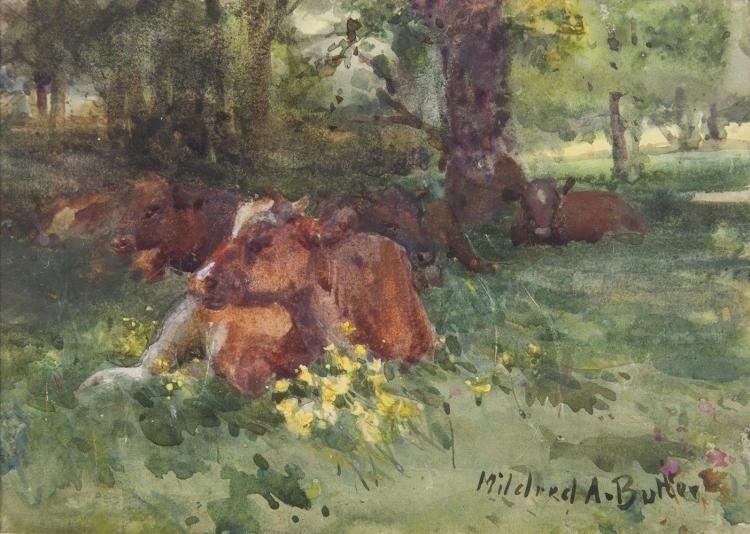 Mildred Anne Butler RWS FRSA RUA (1858-1941)Cows in Kilmurry WoodsWatercolour, 12.5 x 17.5cm (5 x 7'')SignedExhibited: 'Mildred Anne Butler Exhibition', Galway, Catalogue No.57.