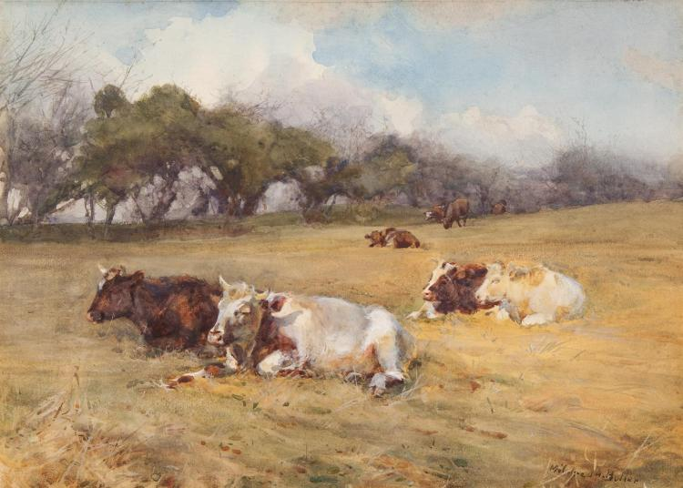 Mildred Anne Butler RWS FRSA RUA (1858-1941)A SiestaWatercolour, 26 x 36cm (10¼ x 14½)SignedProvenance: with William Rodman & Co., Belfast, Label verso