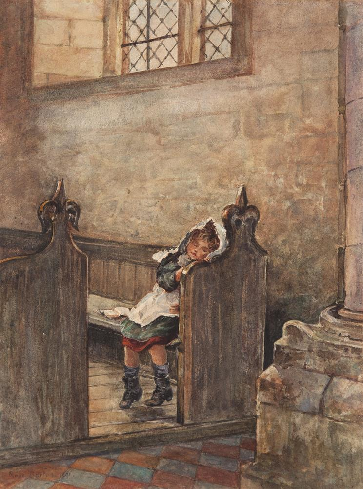 Rose Maynard Barton RWS (1856-1929)'Young Girl Entering the Church' and 'Asleep in a Pew'A pair, watercolour, 34 x 25cm (13¼ x 9¾'')Signed and dated (18)91. (2)