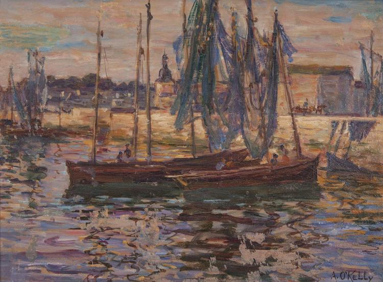 Aloysius O'Kelly (1853-1936)Fishing Boats at ConcarneauOil on board, 23 x 30.5cm (9 x 12'')Signed
