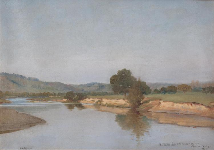 Henry Jones Thaddeus RHA (1859-1924)River Landscape, with Clear Blue Sky (possibly France)Oil on canvas, 40 x 57.5cm (15¾ x 22¾)Signed and inscribed 'To General Roe. With Kindest Regards from the Painter 1904'Provenance: Important Irish Art Sal