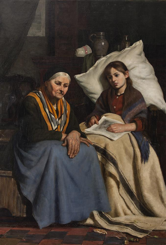 Nathaniel Hill RHA (1860-1930)ConvalescentOil on canvas, 103 x 79cmSigned with initialsExhibited: Taylor Scholarship, Royal Dublin Society, 1883, entitled 'Convalescence'; Royal Hibernian Society, 1884, Catalogue No. 258, entitled 'Convalescent'