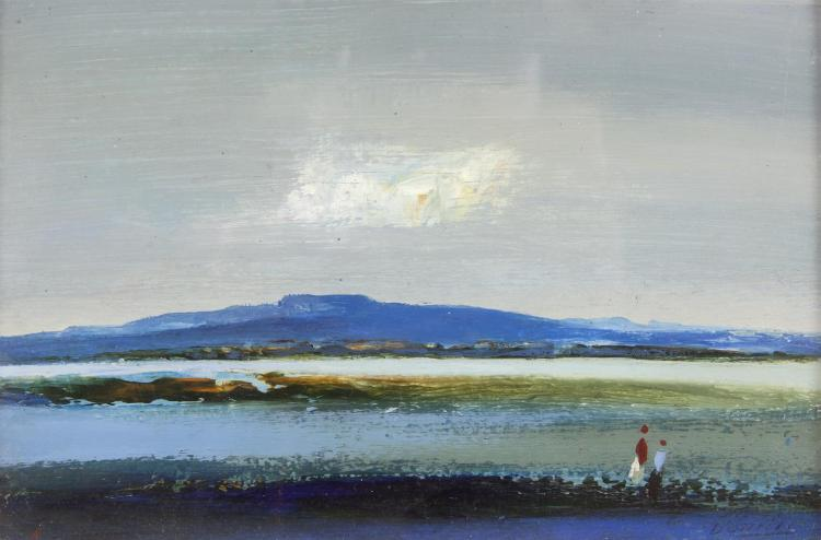 Daniel O'Neill (1920-1974)Two Figures in a Western LandscapeOil on board, 14 x 22cm (5½ x 8½'')Signed