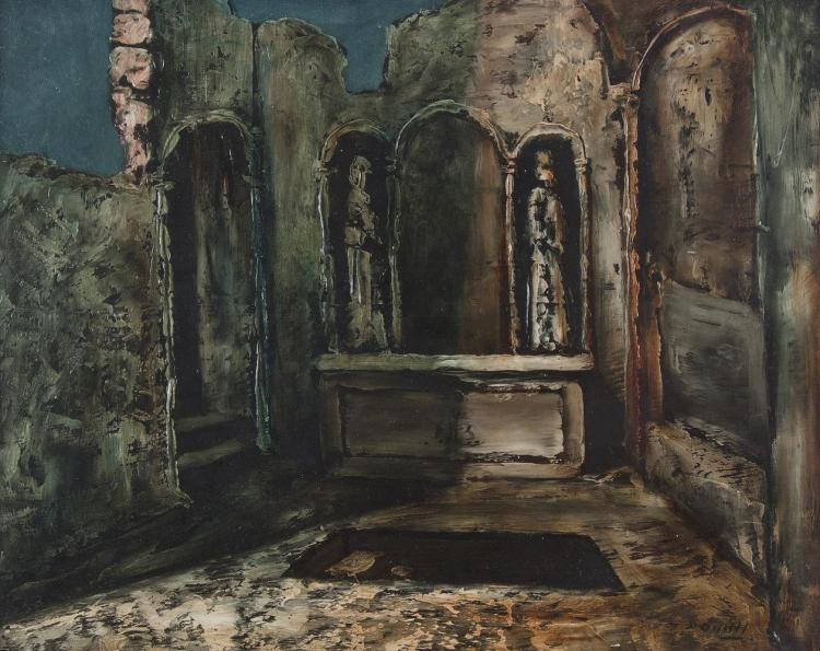Daniel O'Neill (1920-1974)Ruined ChapelOil on board, 40.5 x 50.5cm (16 x 20'')SignedProvenance: Christies Belfast October 1989, Cat. No. 370, where purchased by current owner.The potency of Daniel O'Neill's early paintings lies in the heighten