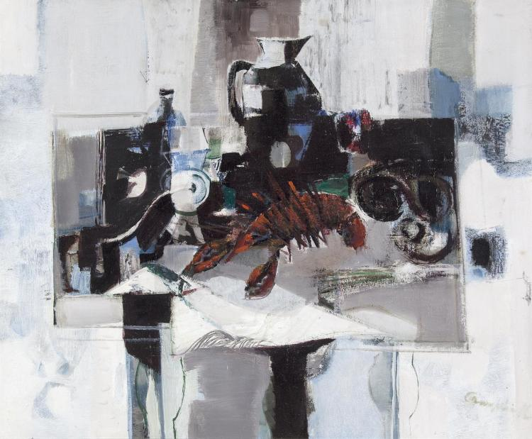 George Campbell RHA RUA (1917-1979) Still Life with Crayfish (1972) Oil on board, 51 x 61cm (20 X 24'') Signed together with original catalogue, 1972 Exhibited: 'George Campbell' exhibition at the Cork Art Society Gallery, Lavitts Quay, April 19