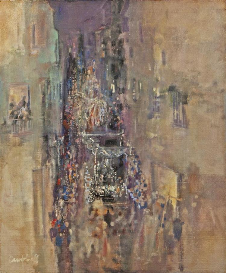 George Campbell RHA (1917-1979)Holy Week Procession, MalagaOil on board, 76 x 63.5cm (30 x 25'')Signed; signed again and inscribed with title versoExhibited: 'George Campbell and the Belfast Boys' Adam's summer loan show, Dublin, July 2015, The
