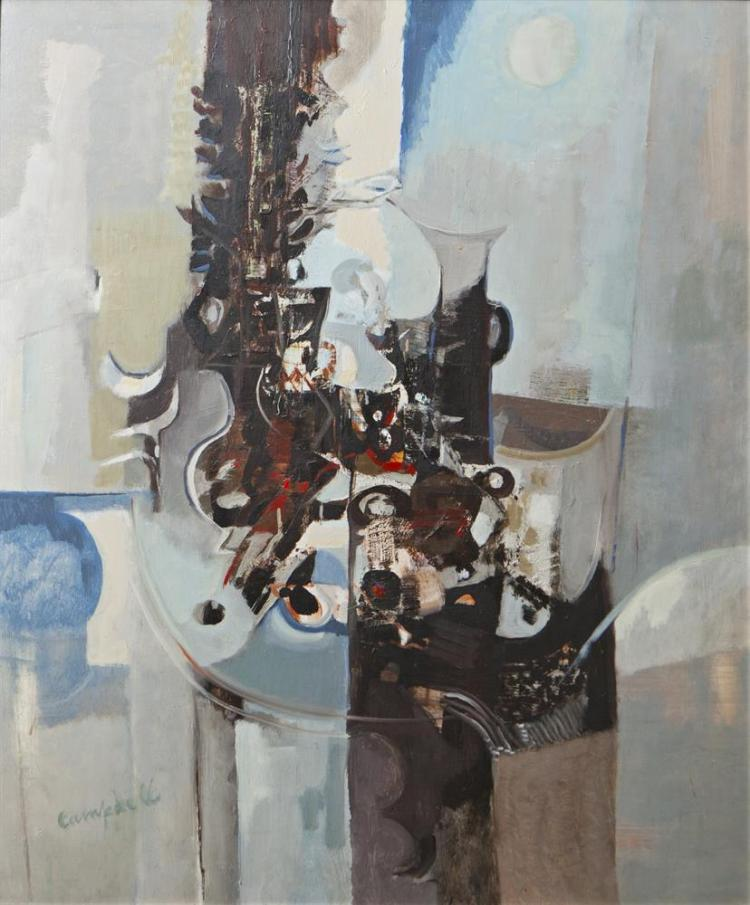 George Campbell RHA (1917-1979)Still Life: Things in My StudioOil on board, 89.5 x 74cm (35¼ x 29'')SignedExhibited: 'Two Irish Painters, Arthur Armstrong & George C Campbell' (Dos Pintores Irlandeses Arthur Armstrong & George C Campbell) Galerie