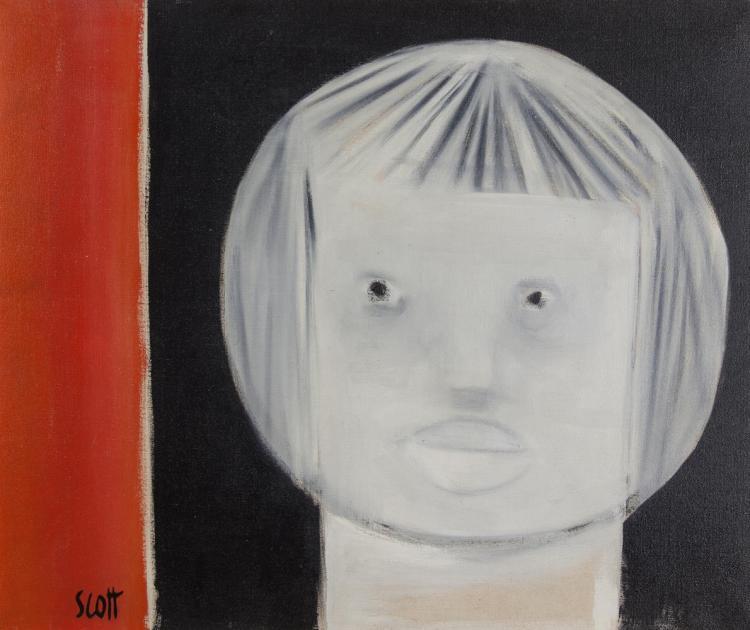 Patrick Scott HRHA (1921-2014)Little GirlOil on canvas, 50.5 x 61cm (20 x 24'')SignedExhibited: 'Irish Exhibition of Living Art', 1958, Catalogue No.91.