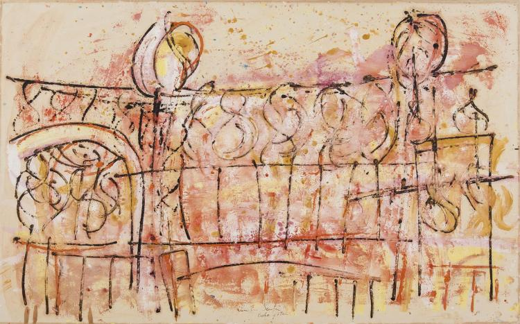Camille Souter HRHA (b.1929)Iron Gates (1962)Oil on paper laid on board, 62 x 101.5cm (24¼ x 40'')Signed and dated 1962 and inscribed 'Calary'Literature: 'Camille Souter: Mirror in the Sea', Garrett Cormican, 2006, Cat. No.155, illustrated p.249.