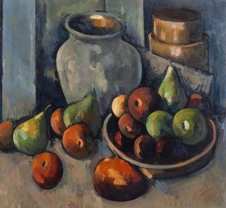 Peter Collis RHA (1929-2012)Still Life with Fruit and a VaseOil on canvas, 60 x 60cm (23½ x 23½)SignedExhibited: Dublin RHA 2011, No.98