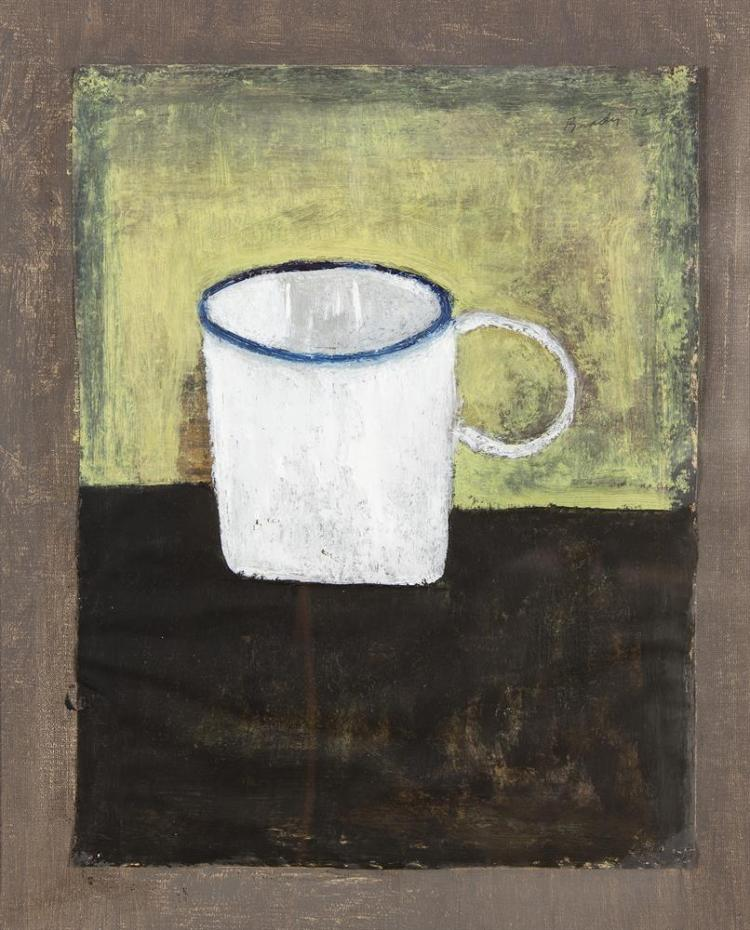 Charles Brady HRHA (1926-1997)Still Life - White Enamel CupOil on paper laid on canvas, 32 x 26.5cm (12½ x 10½'')Signed and dated 19(72)