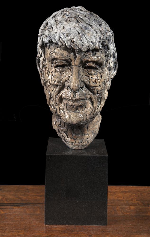 John Coll (b.1956)Seamus HeaneyBronze, 32cm high (12½''), on limestone base, 18cm high (7'')